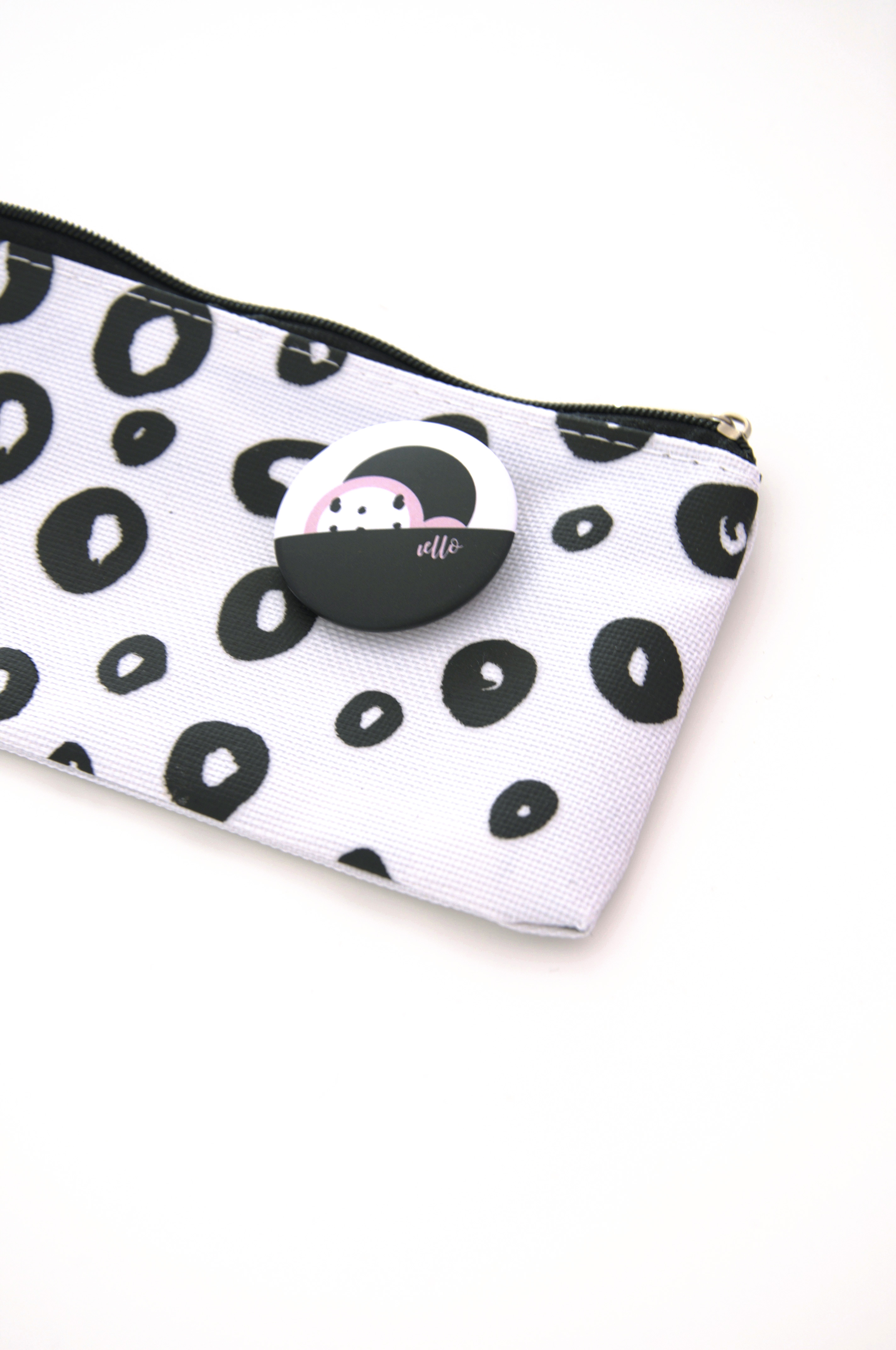 White pencil case with pin